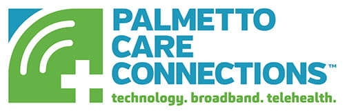 Palmetto Care Connections logo | technology. broadband. telehealth.
